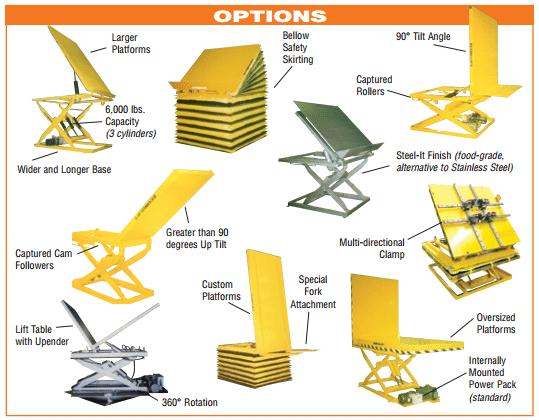 Econo Lift lift table options
