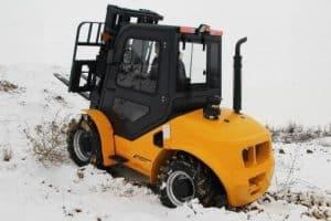 Forklift in snowbank